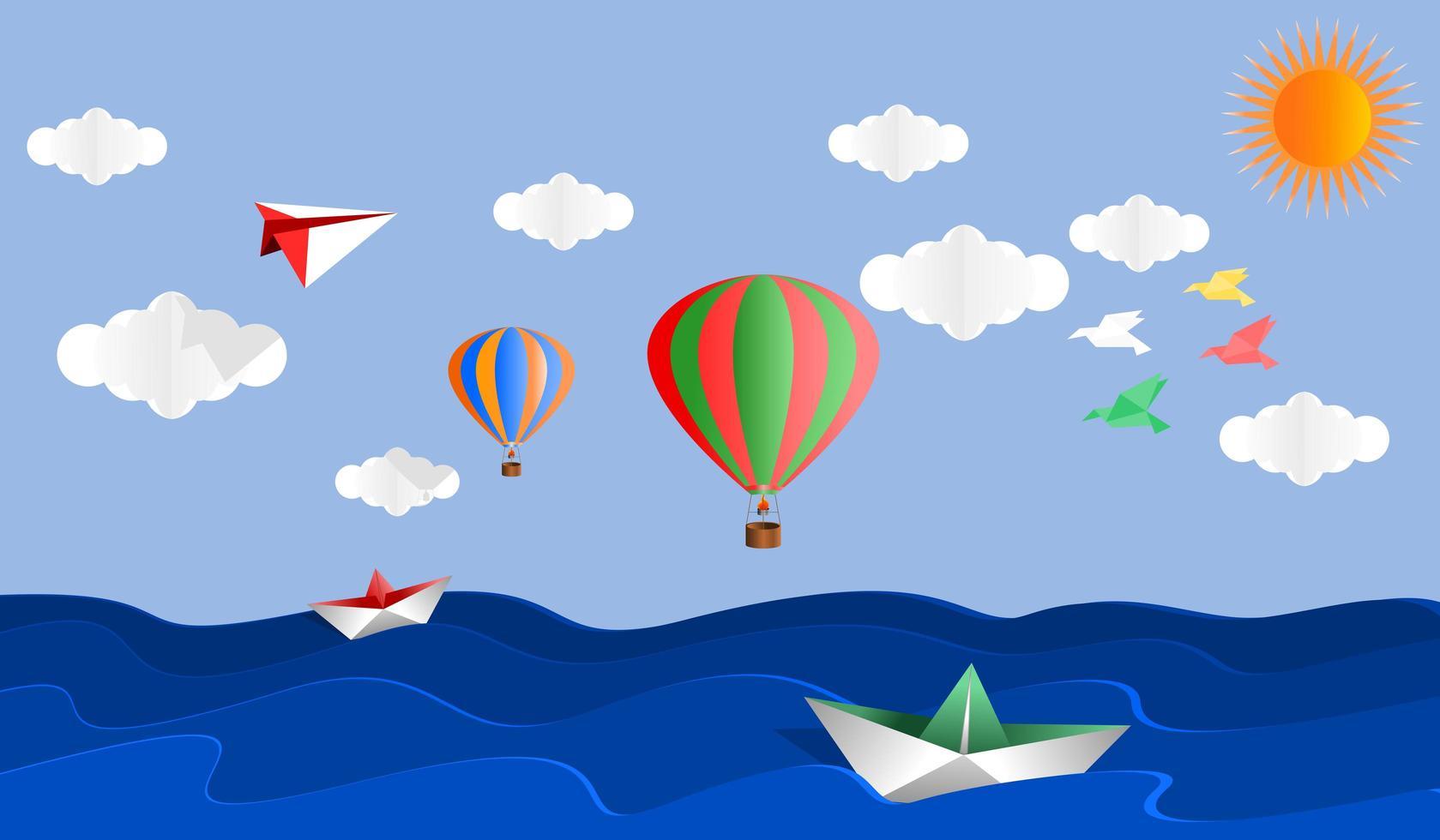 paysage de ballons en papier origami et paysage marin vecteur