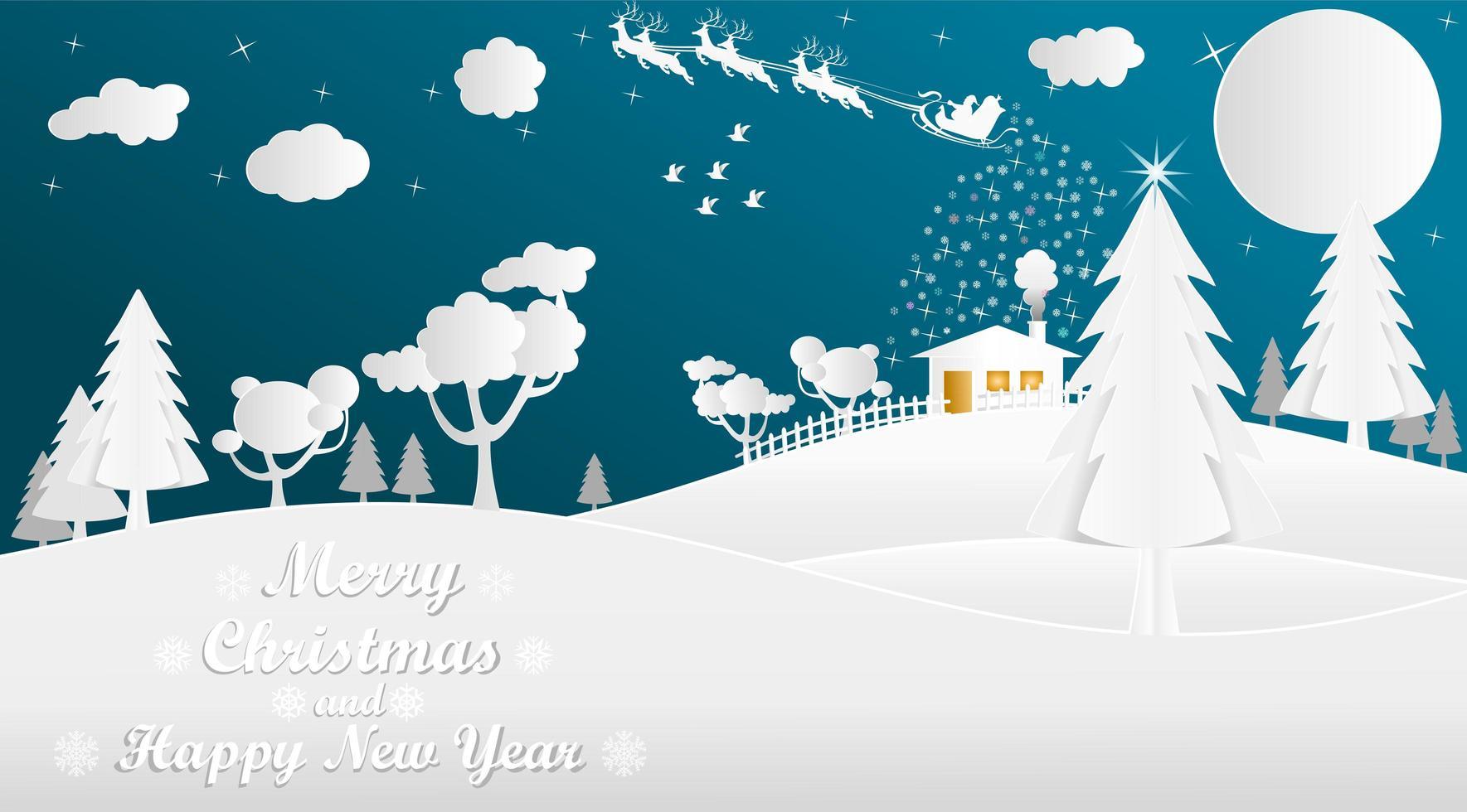 stile di taglio carta santa e slitta paesaggio invernale vettore