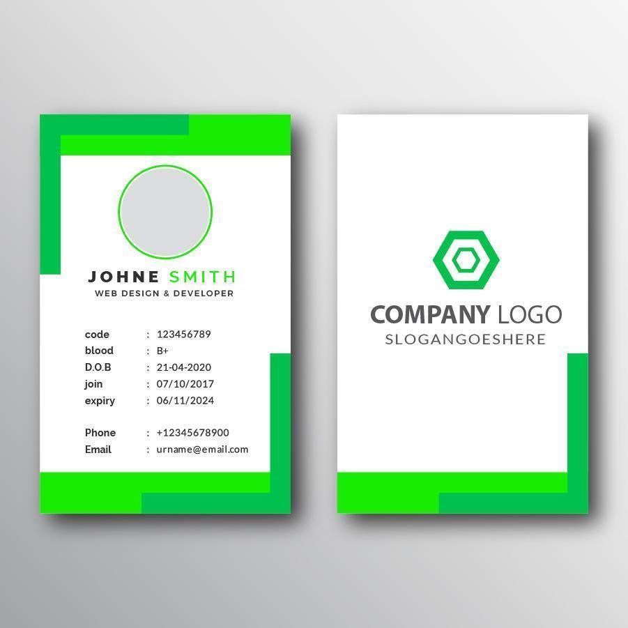 plantilla de tarjeta de visita de neón verde y blanco vector