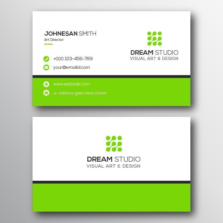 modelo de cartão de visita minimalista da borda verde grossa vetor