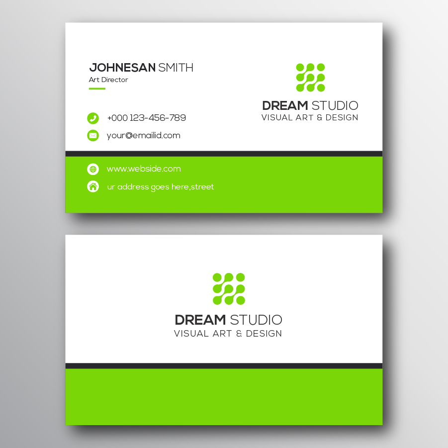 thick green border minimalist business card template