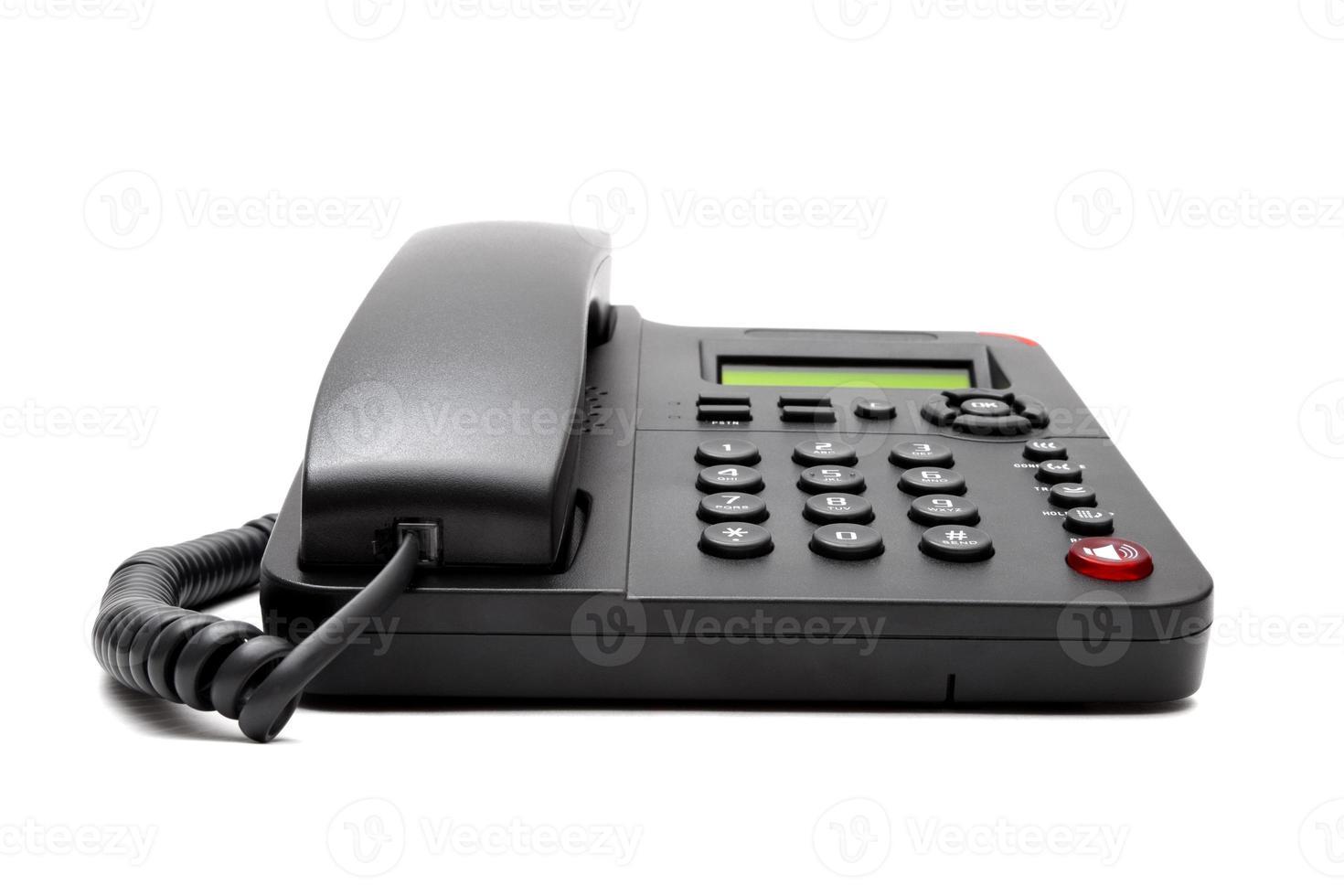 black phone isolated on white background photo