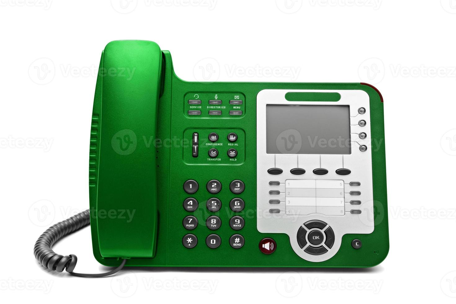 Green IP office phone isolated photo