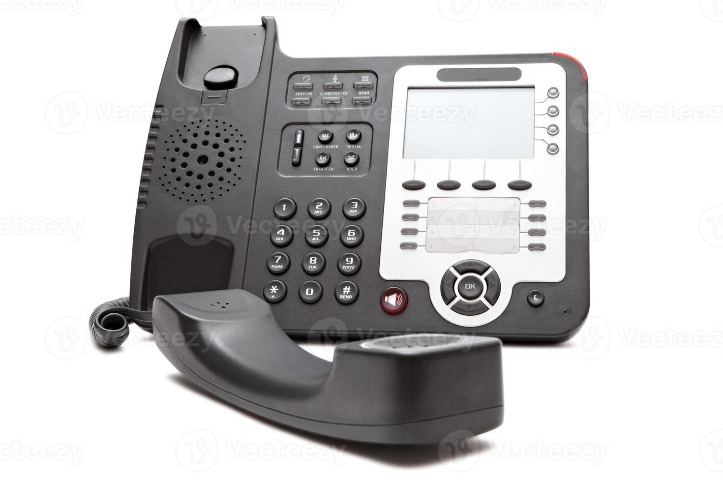 Black IP phone close up isolated photo