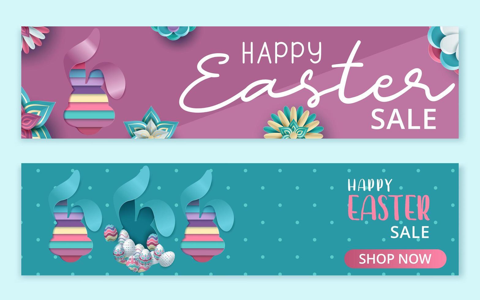 Feliz banner de venta de pascua con conejito en capas en papel vector