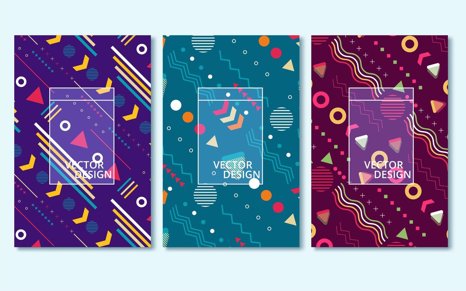 conjunto de tres fondos abstractos de portada vector