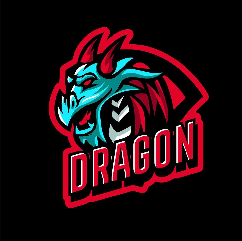 emblema de cabeza de dragón para deportes vector
