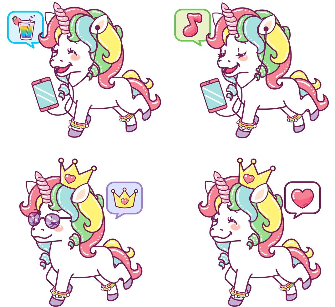 Colorful Unicorns with Different Expressions vector