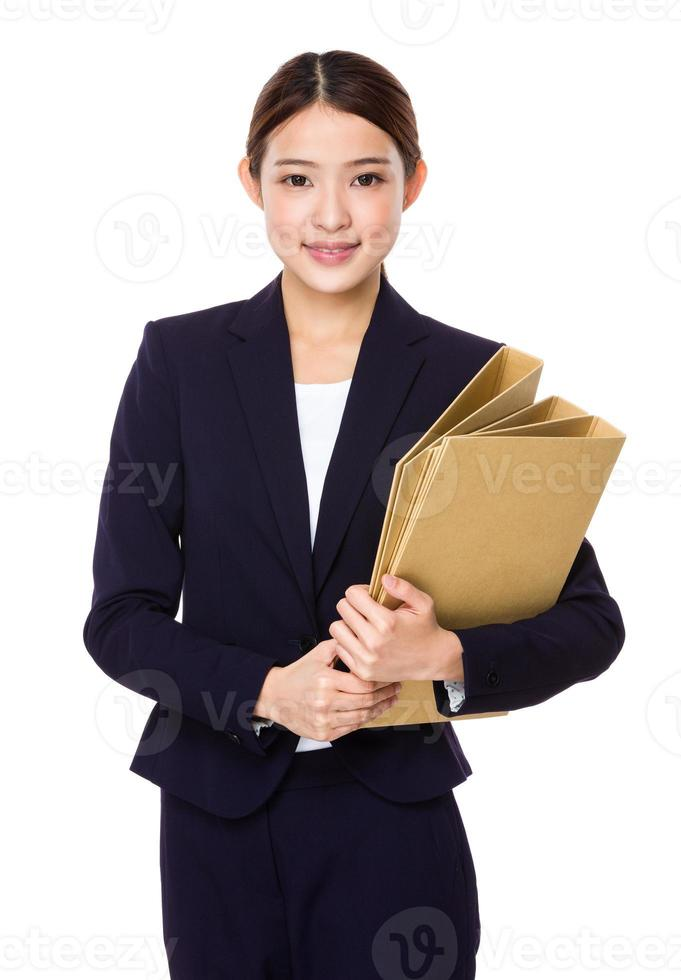 Businesswoman hold with folder photo