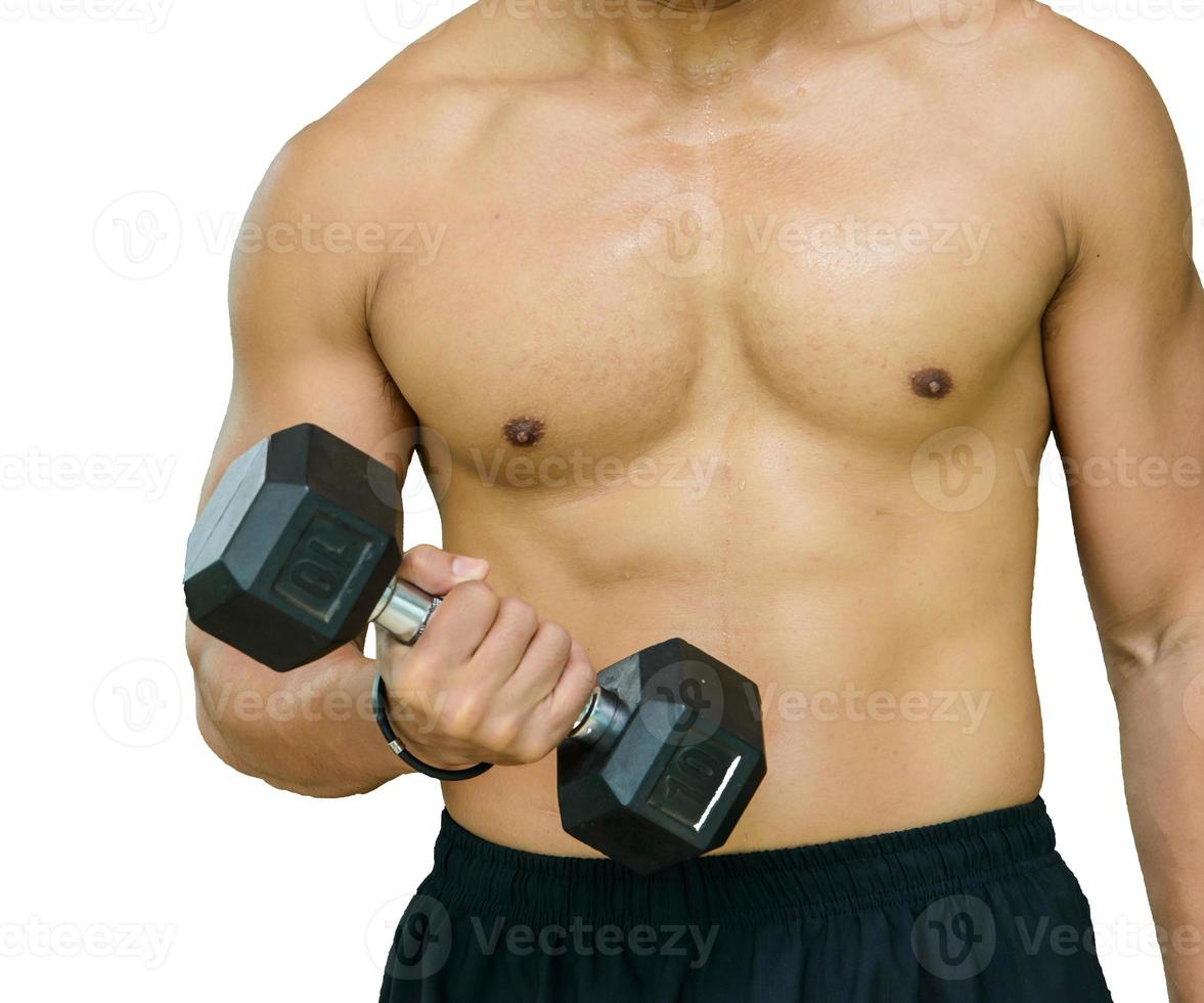Healthy man doing get in shape Concentration Curl photo
