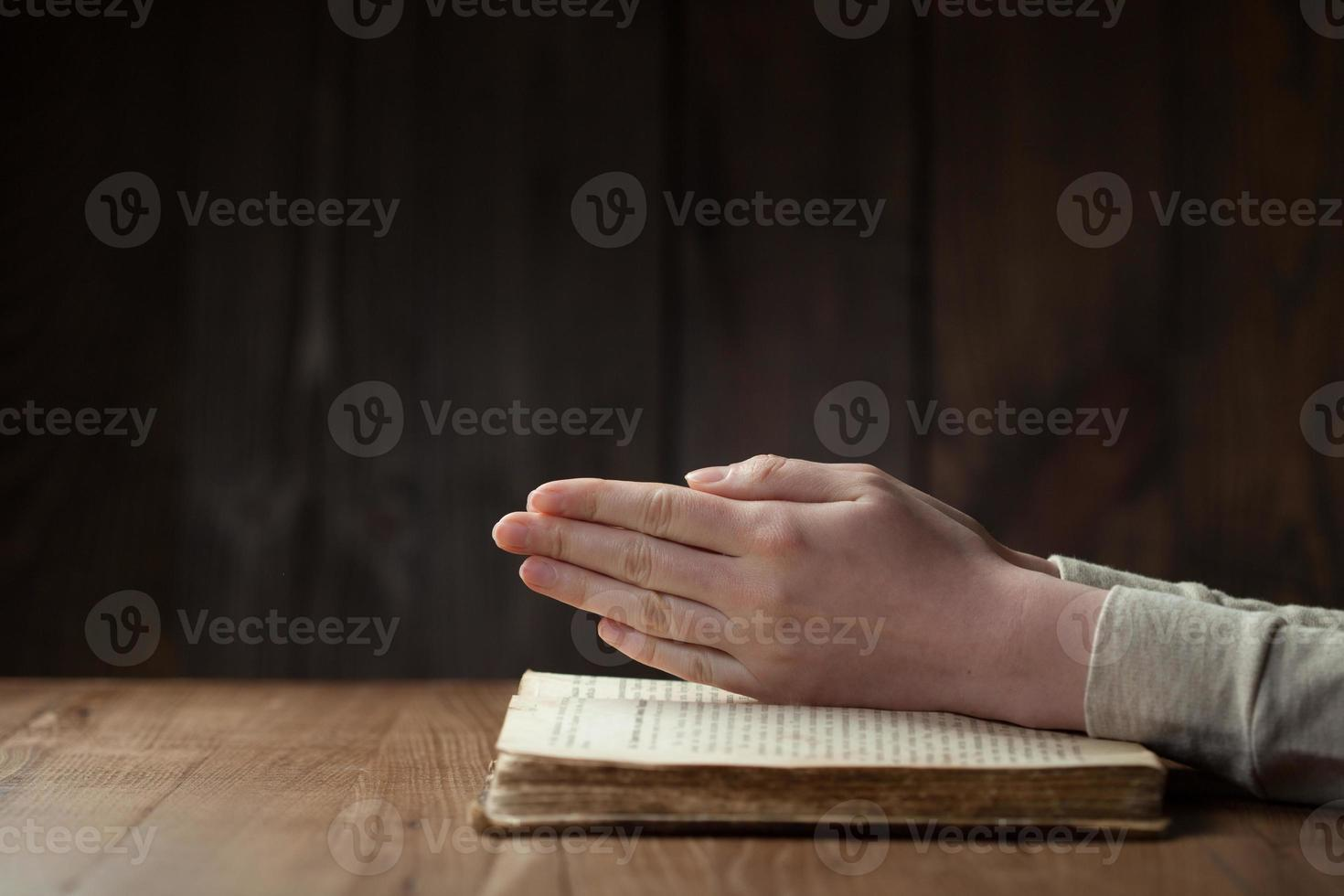 woman reading the bible photo