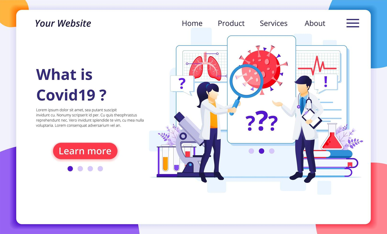 Scientists in research laboratory landing page vector