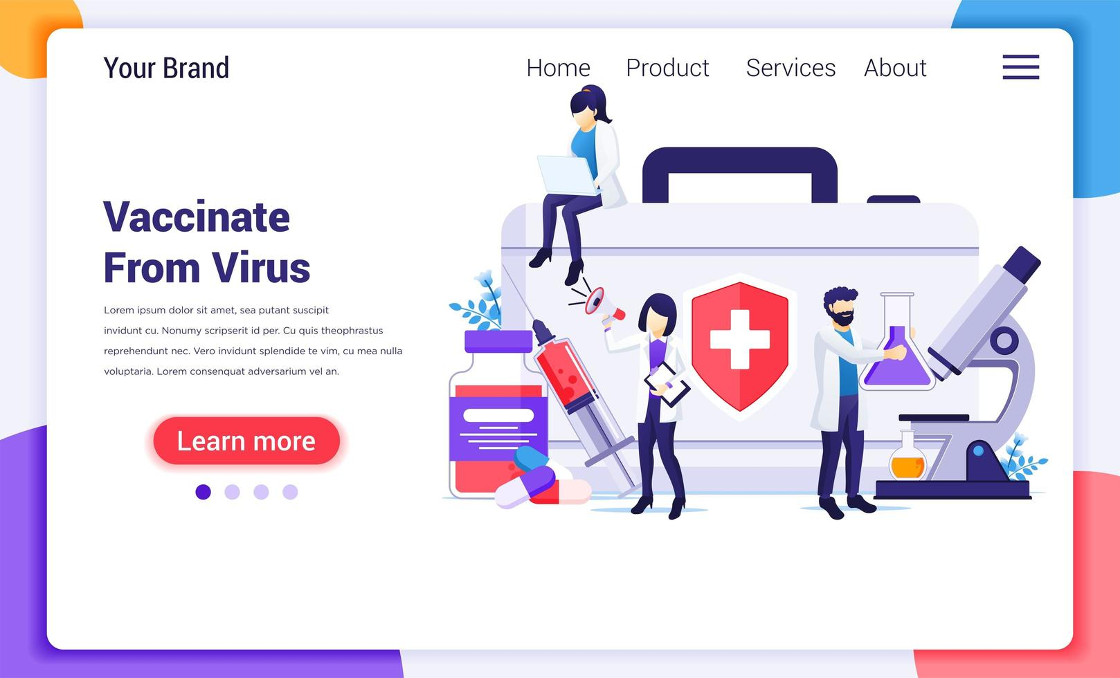 Medical staff researching vaccination landing page vector