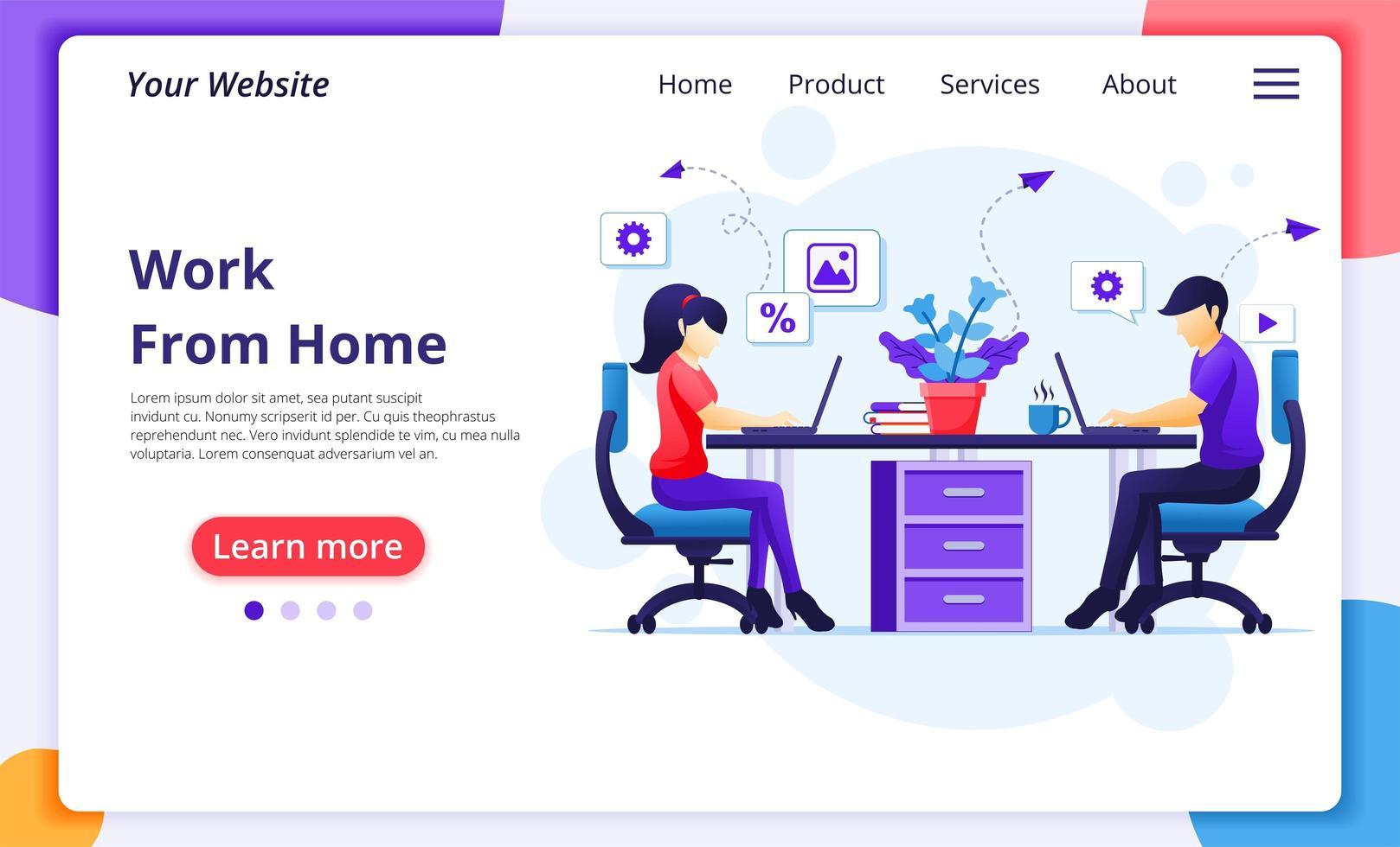 personas que trabajan desde su casa en la página de inicio del escritorio vector