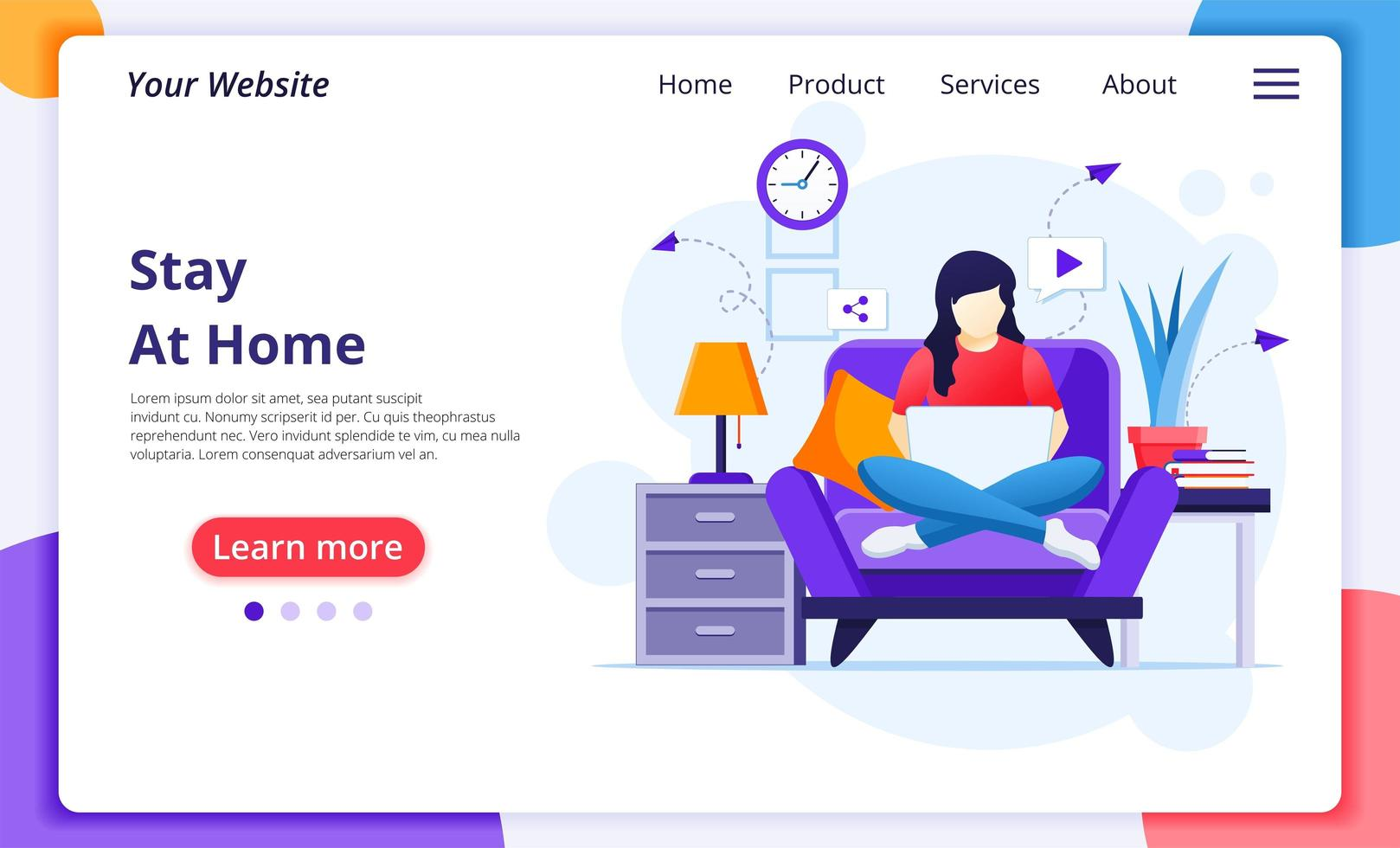 Woman sitting on chair with laptop landing page vector