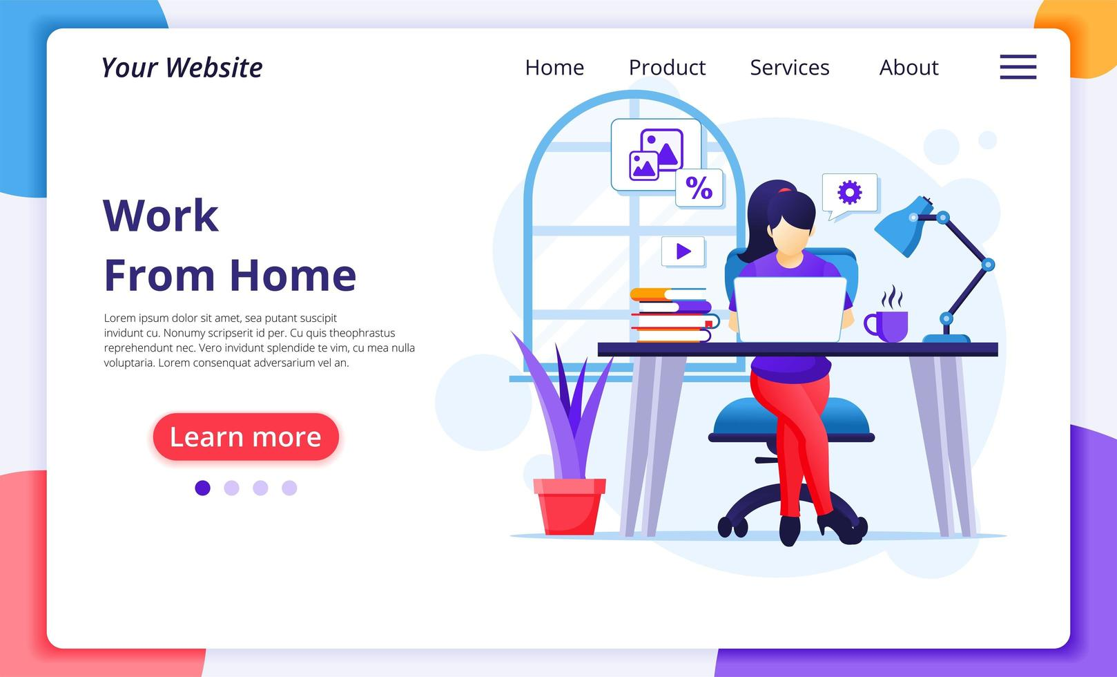 Woman working from home on computer landing page vector