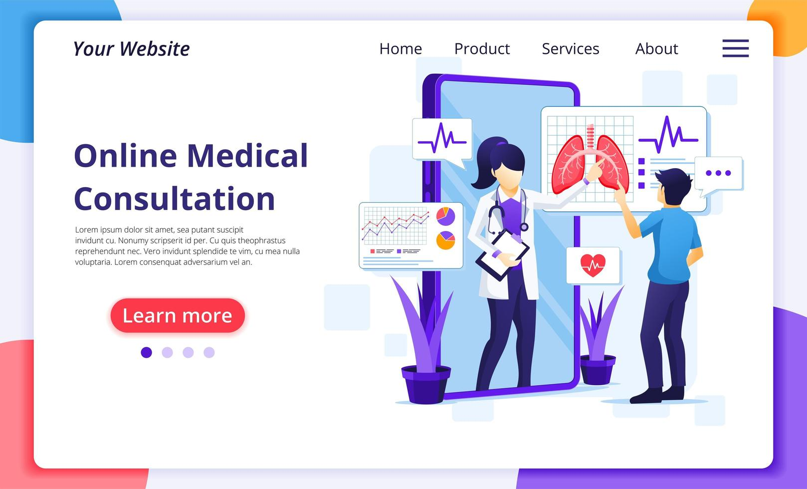 Online medical consultation landing page vector
