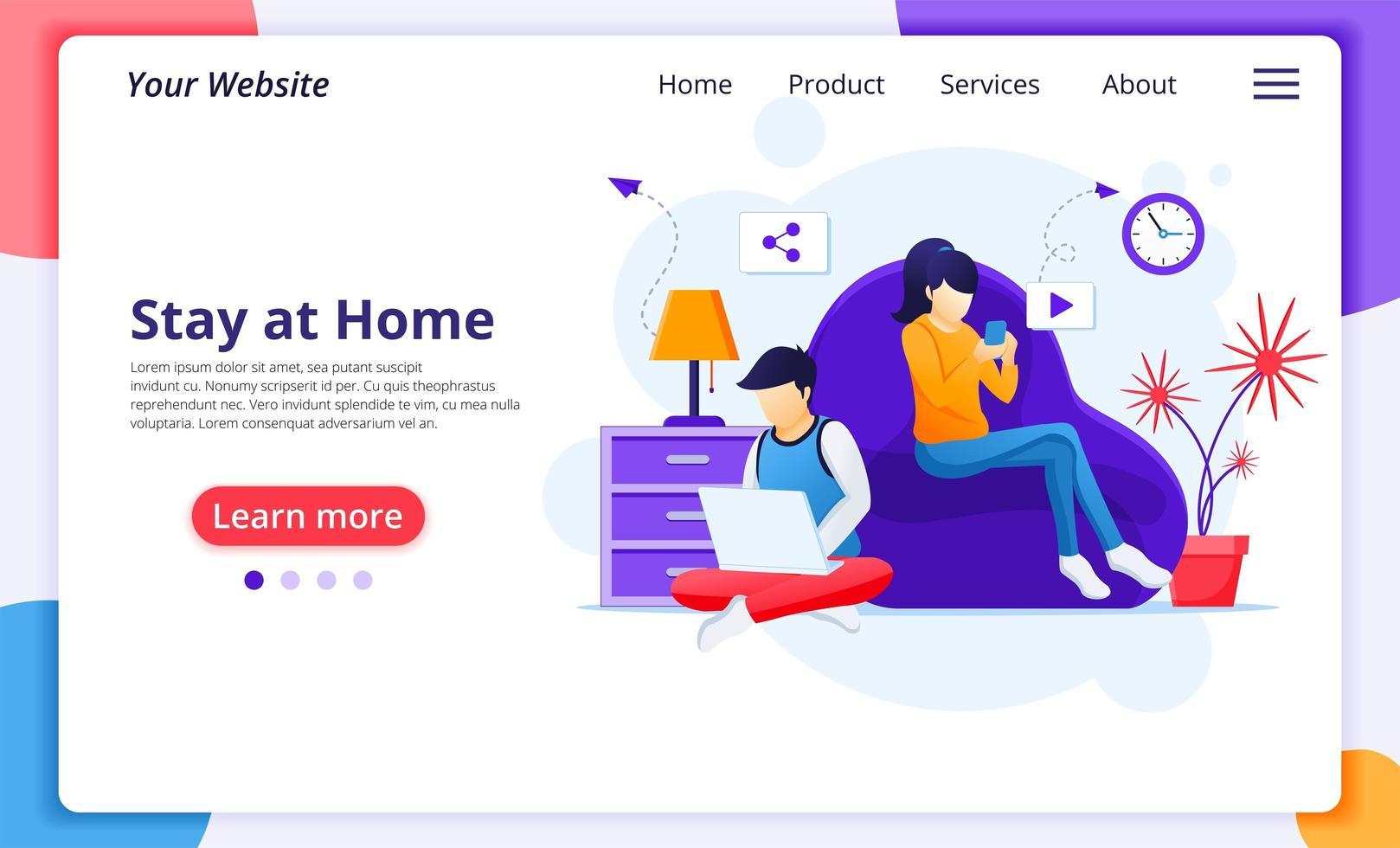 personas que se quedan en casa usando dispositivos página de inicio vector