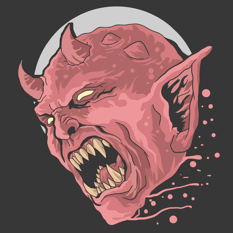 Devil Head Scream Design vector