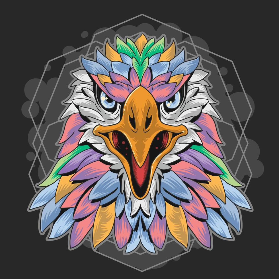 Colorful Eagle Head Pastel Feather Design  vector