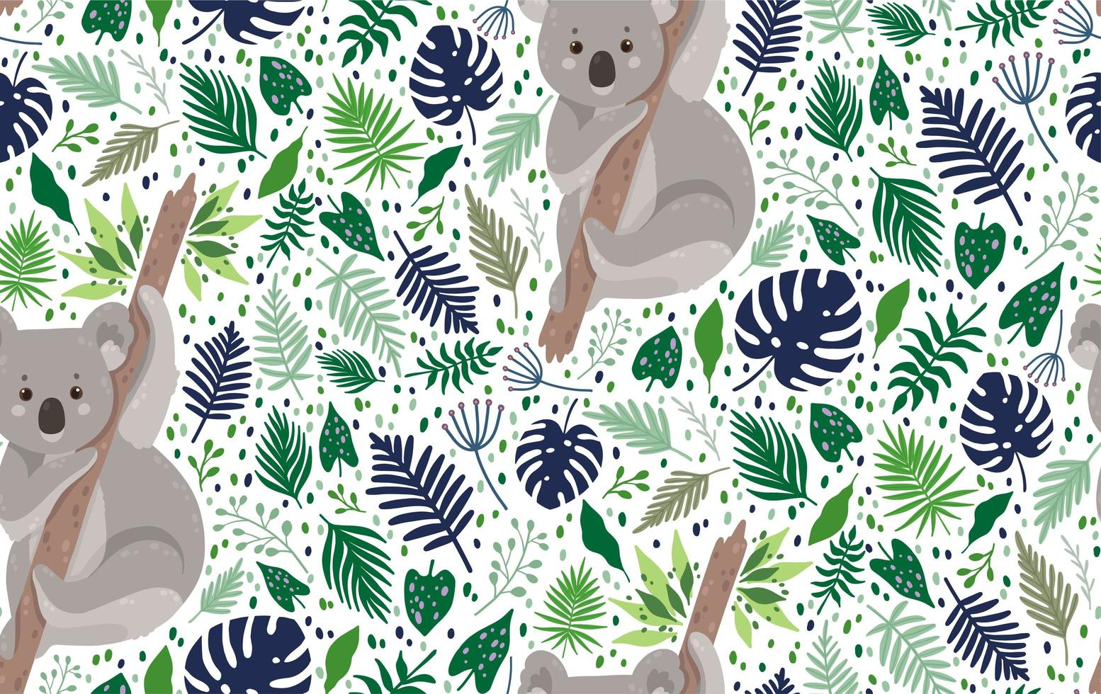 Cute koala surrounded by leaves seamless pattern vector