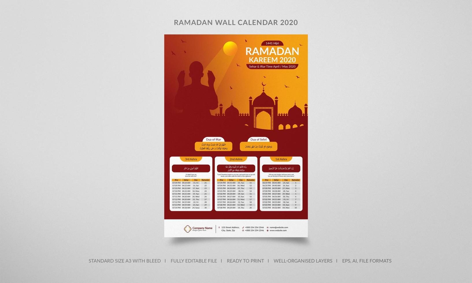 Calendrier mural ramadan 2020 silhouette orange et rouge vecteur