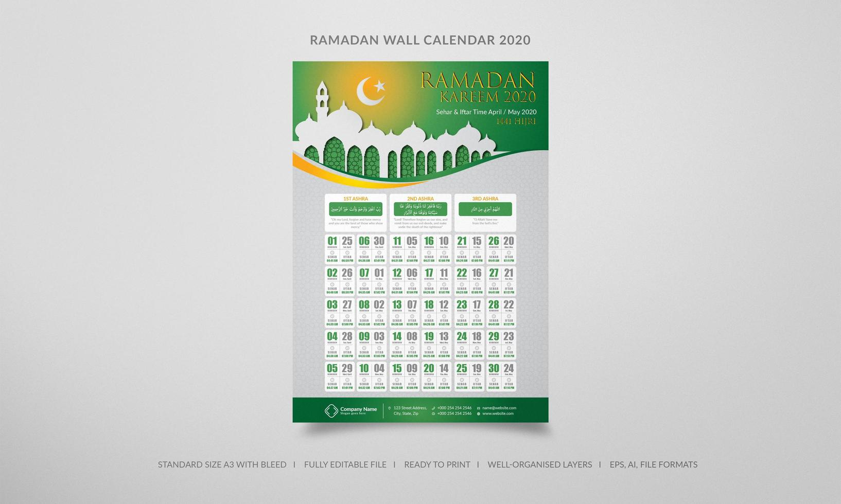 Ramadan 2020 wall calendar in green and orange vector