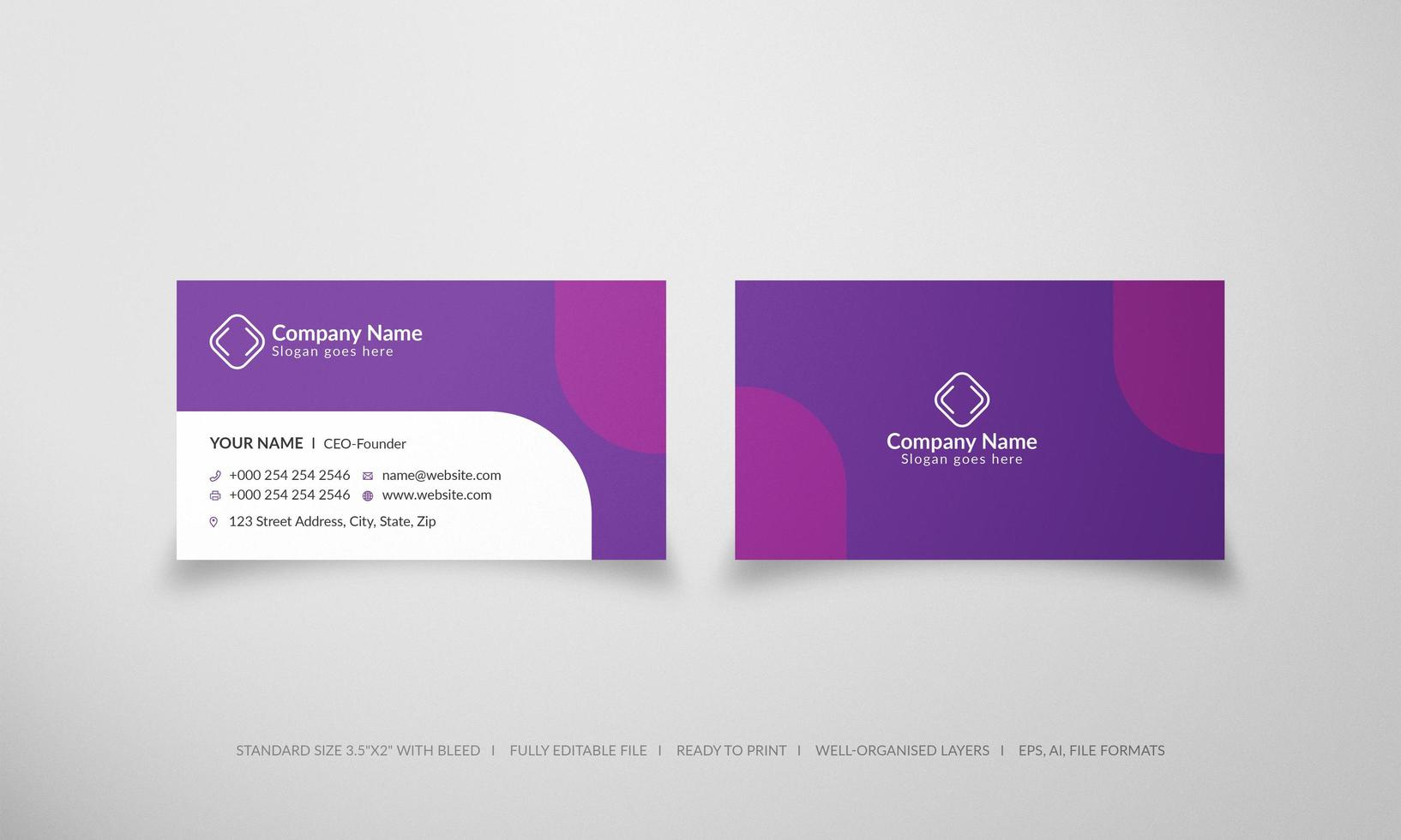 Modern Purple Business Card with Rounded Shapes vector