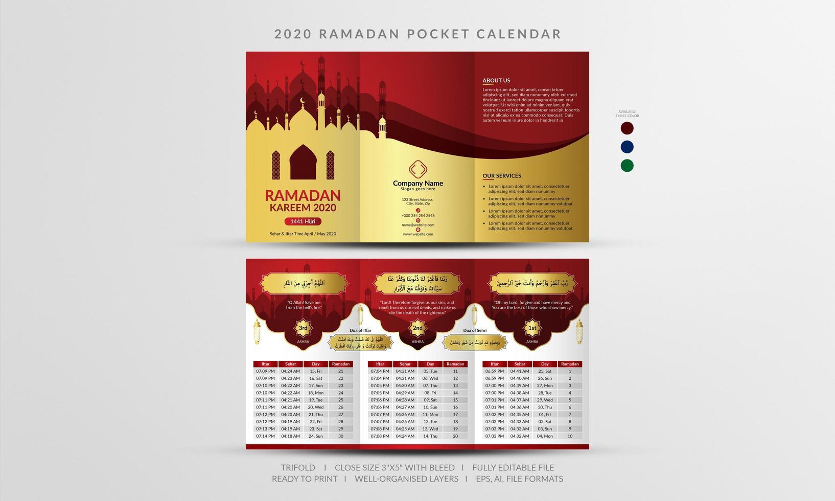 Red and Gold 2020 Ramadan Pocket Calendar vector