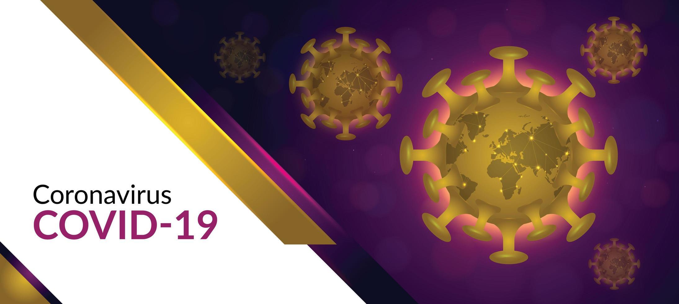 banner coronavirus viola e oro vettore