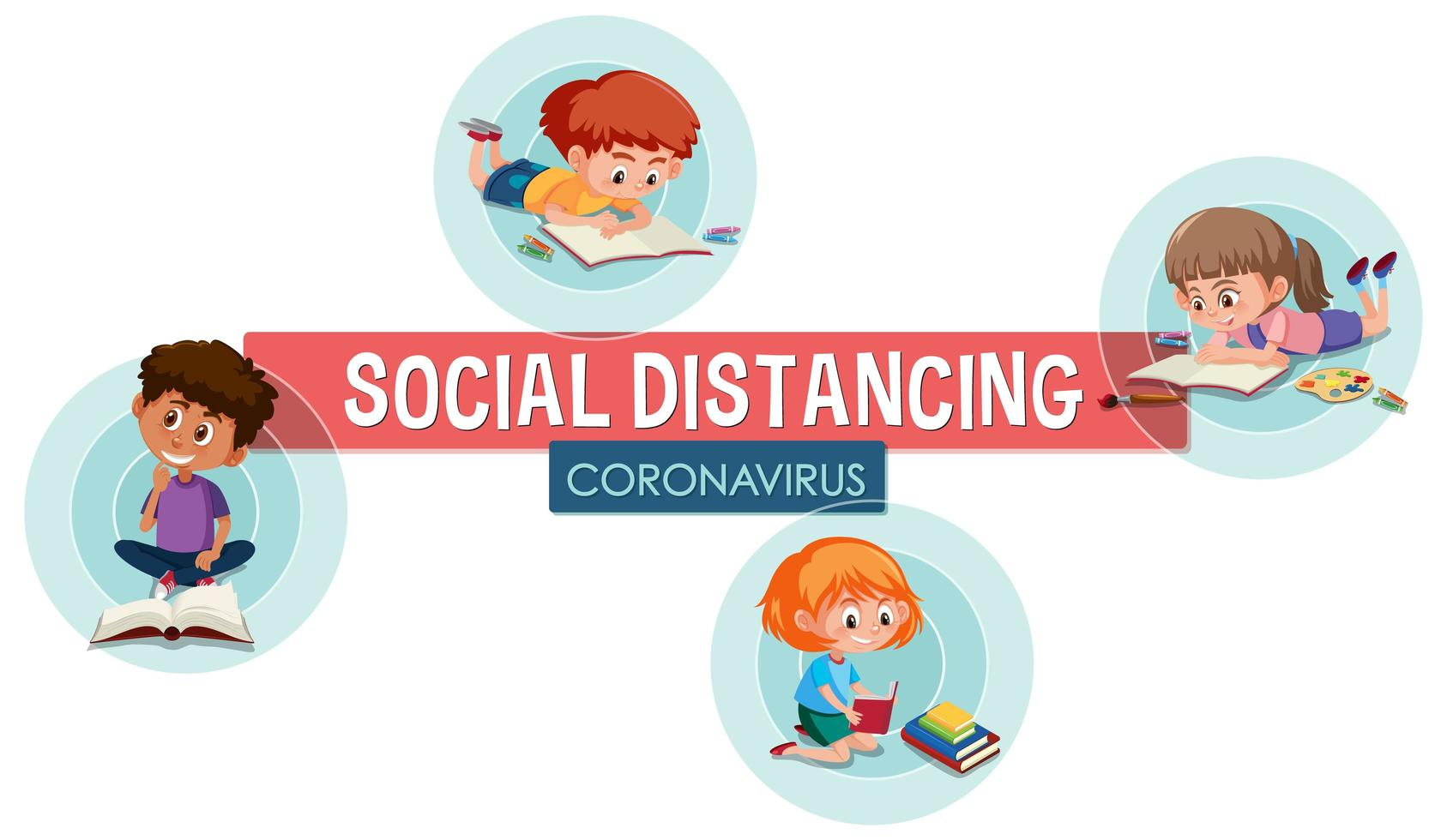 Social Distancing Poster with Children vector