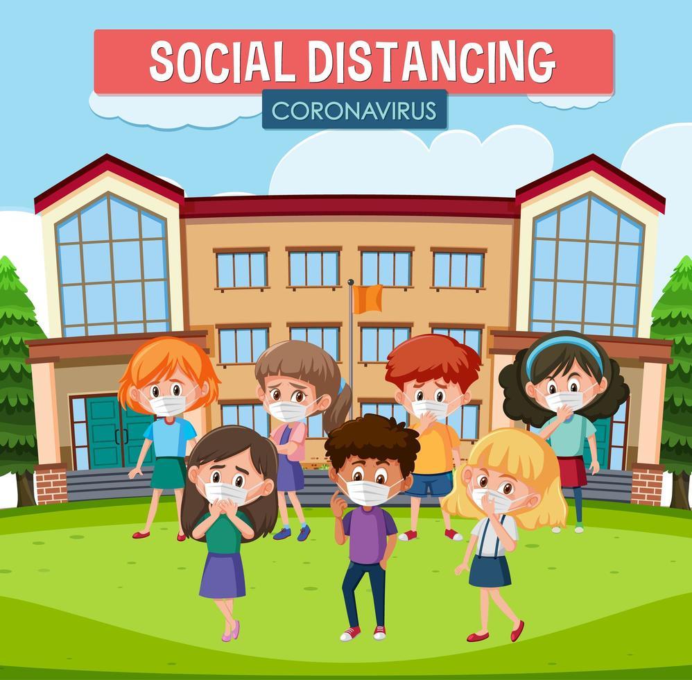 cartel de distanciamiento social con niños vector