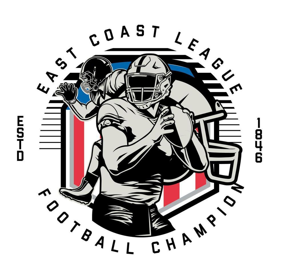 emblema de círculo para campeón de fútbol americano vector