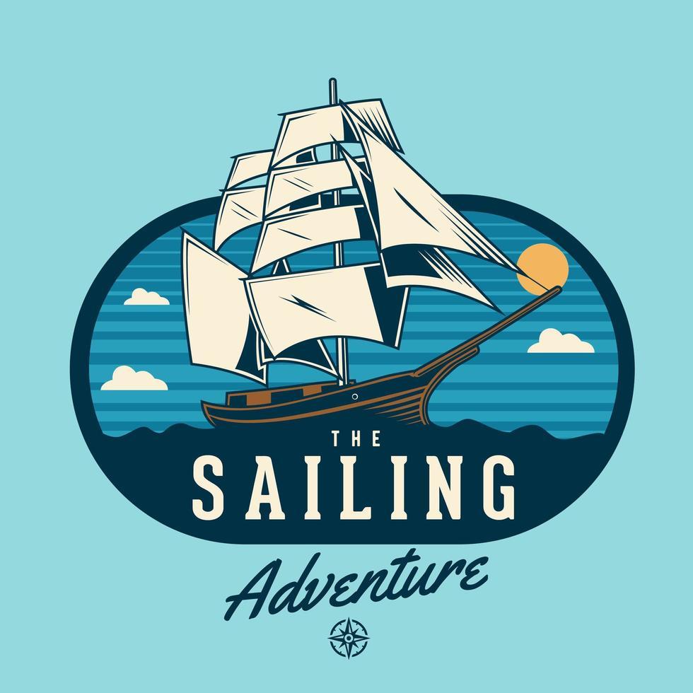 Vela emblema con barco en escena del océano vector