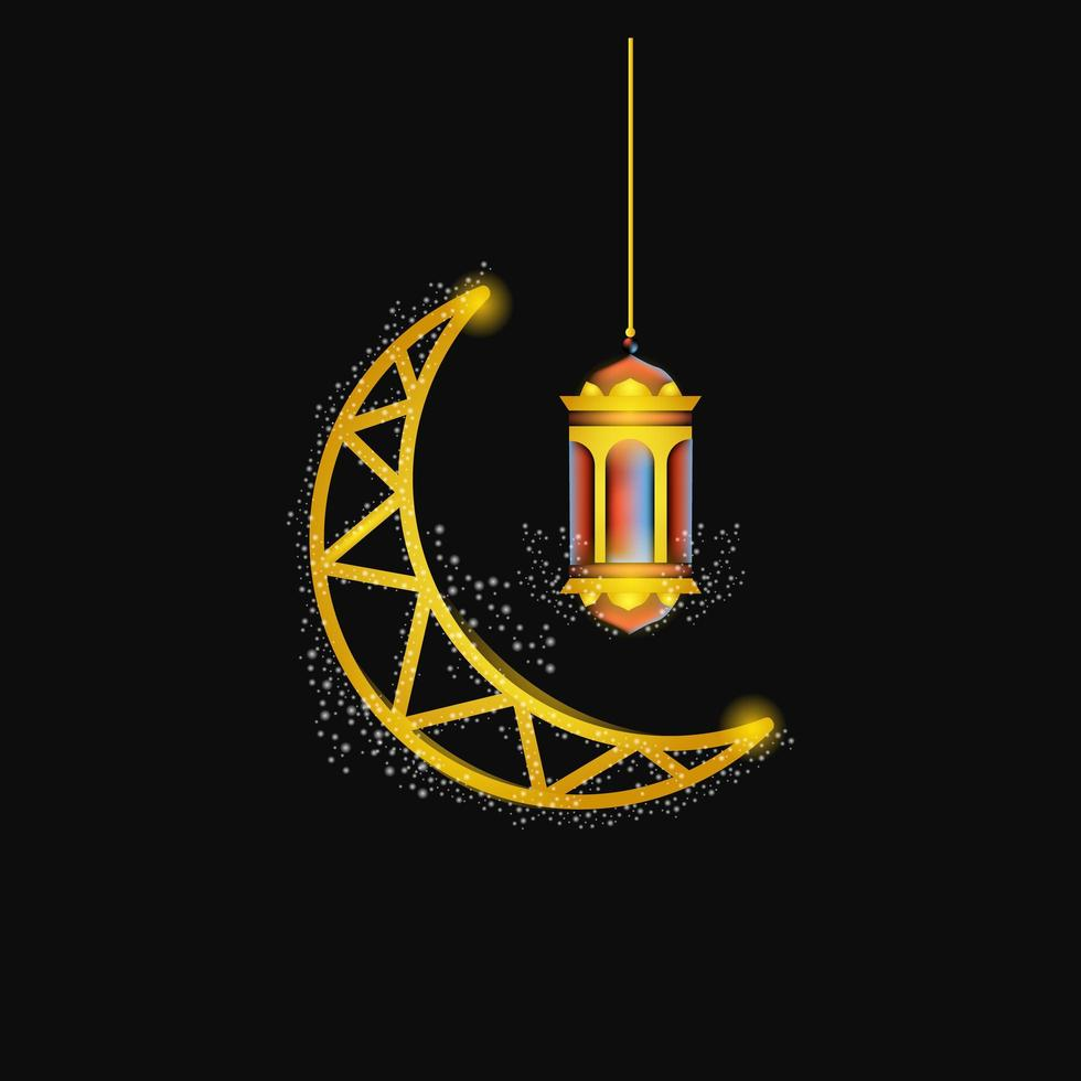 måne och lykta för ramadan vektor