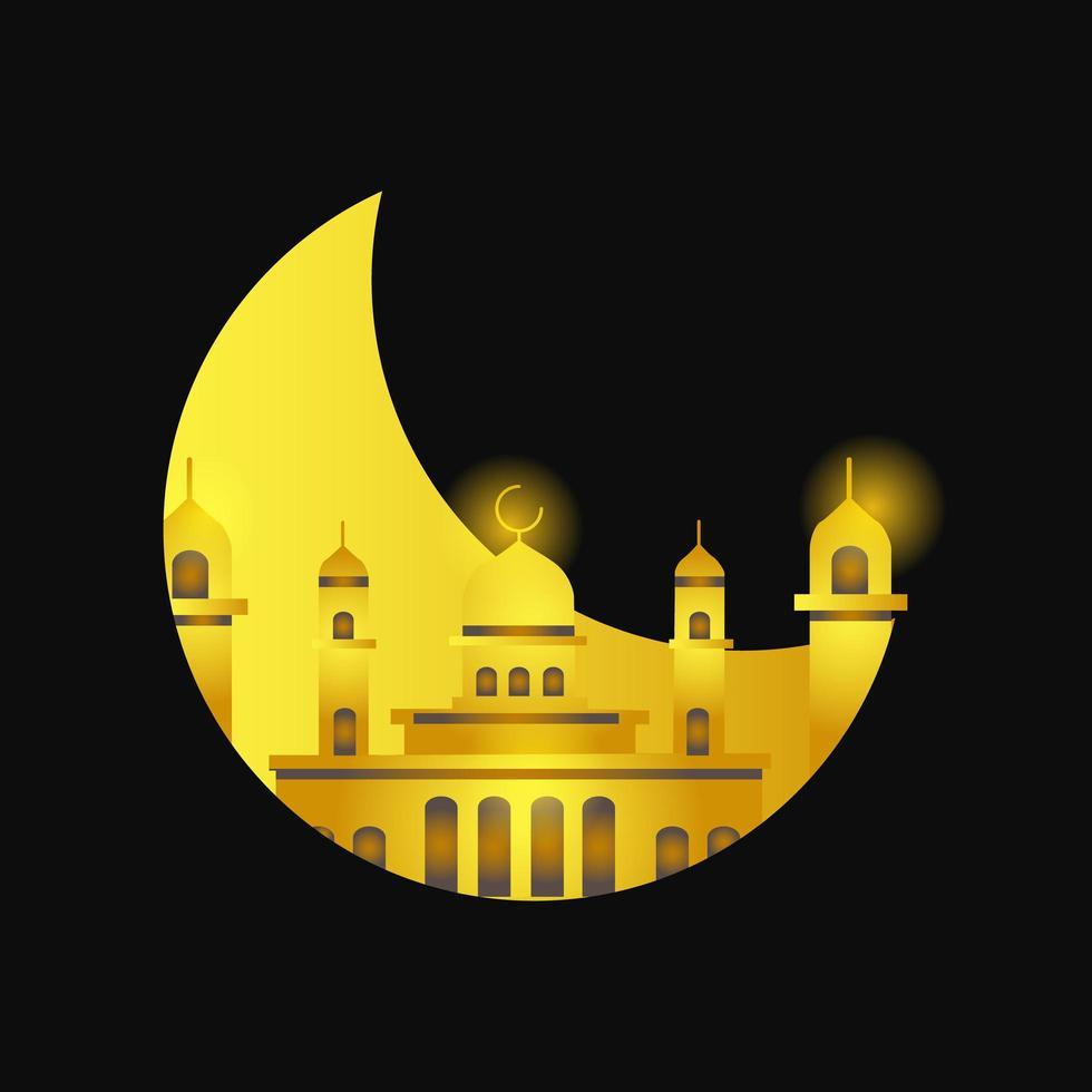 lune dorée dans la mosquée vecteur