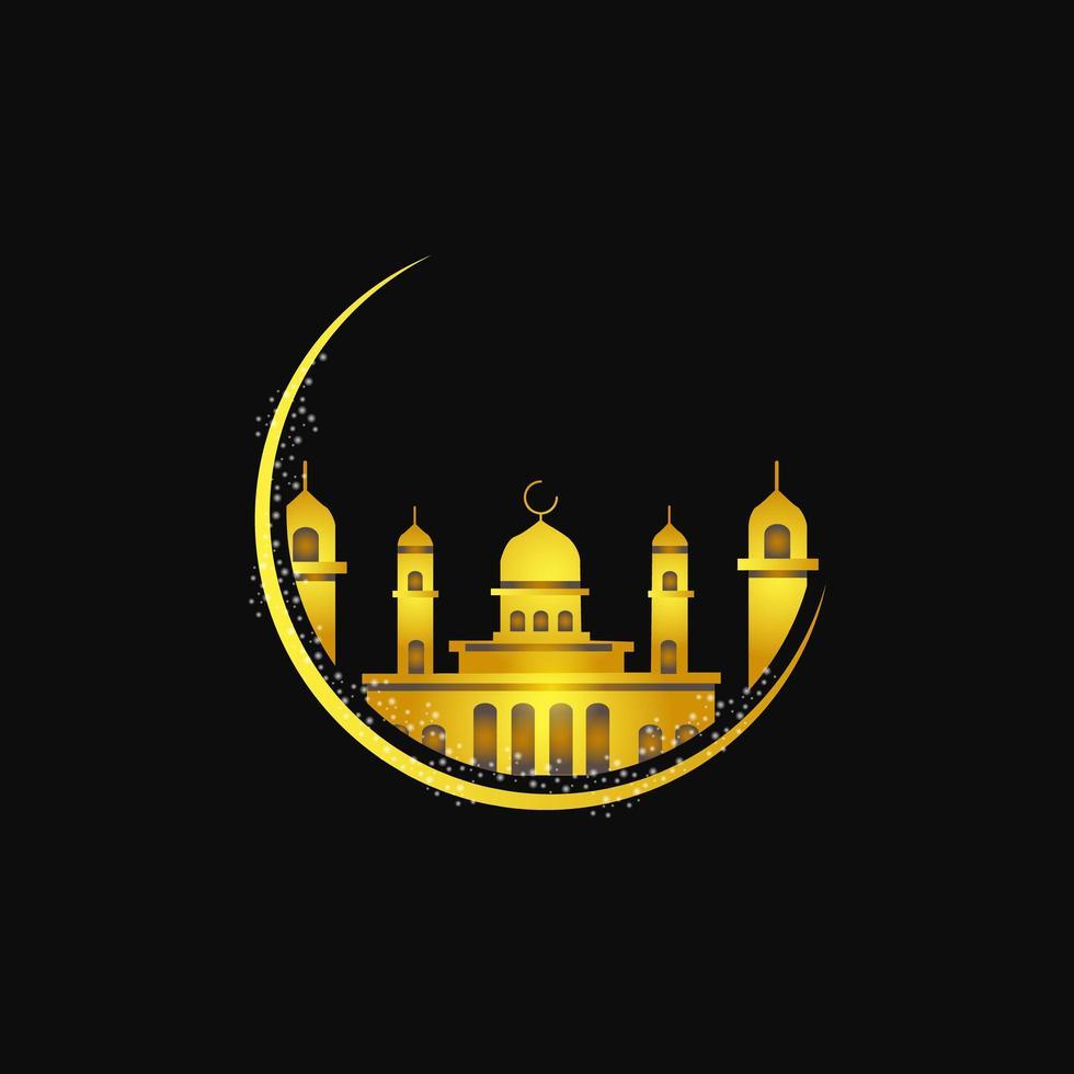 lune de la mosquée d'or vecteur