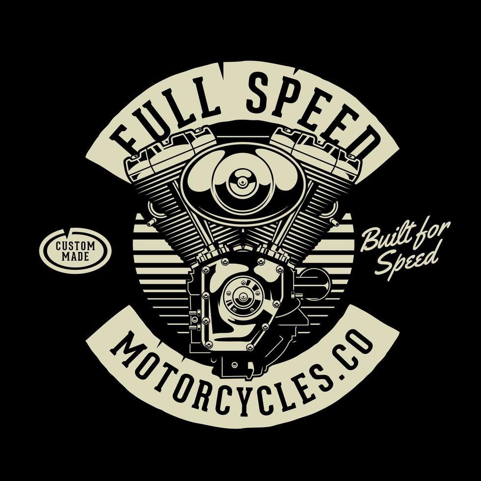 motor de motocicleta v-twin de estilo retro en negro vector