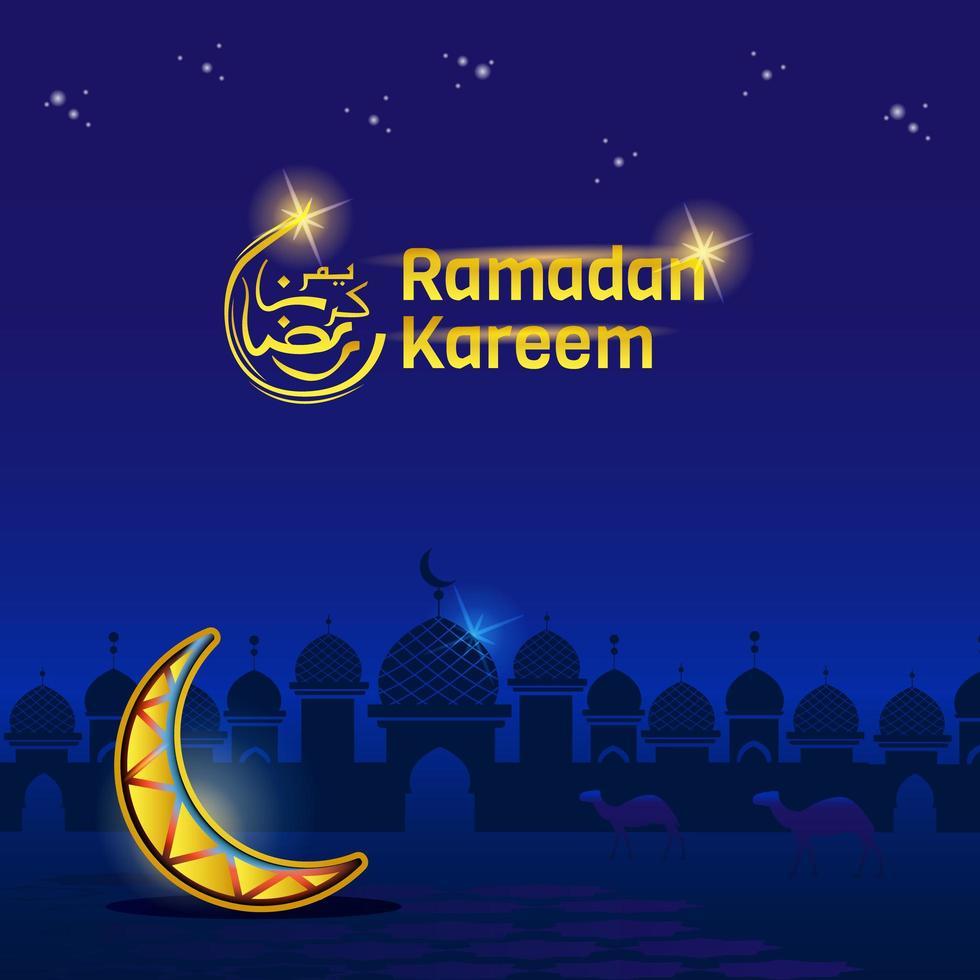 silhouette de la mosquée ramadan kareem la nuit vecteur