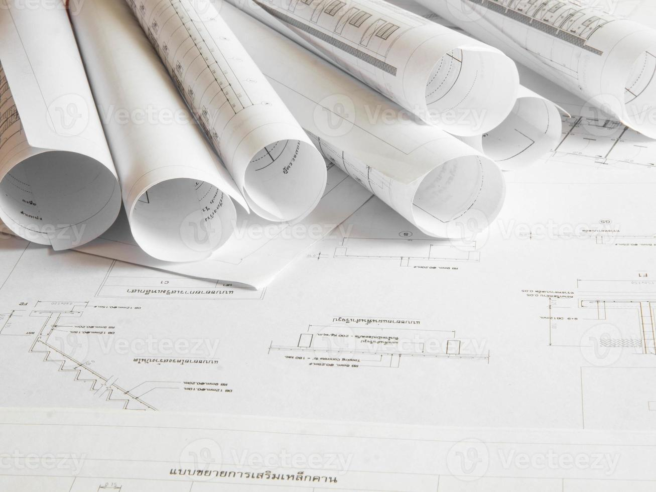 Architectural blueprint of office building photo