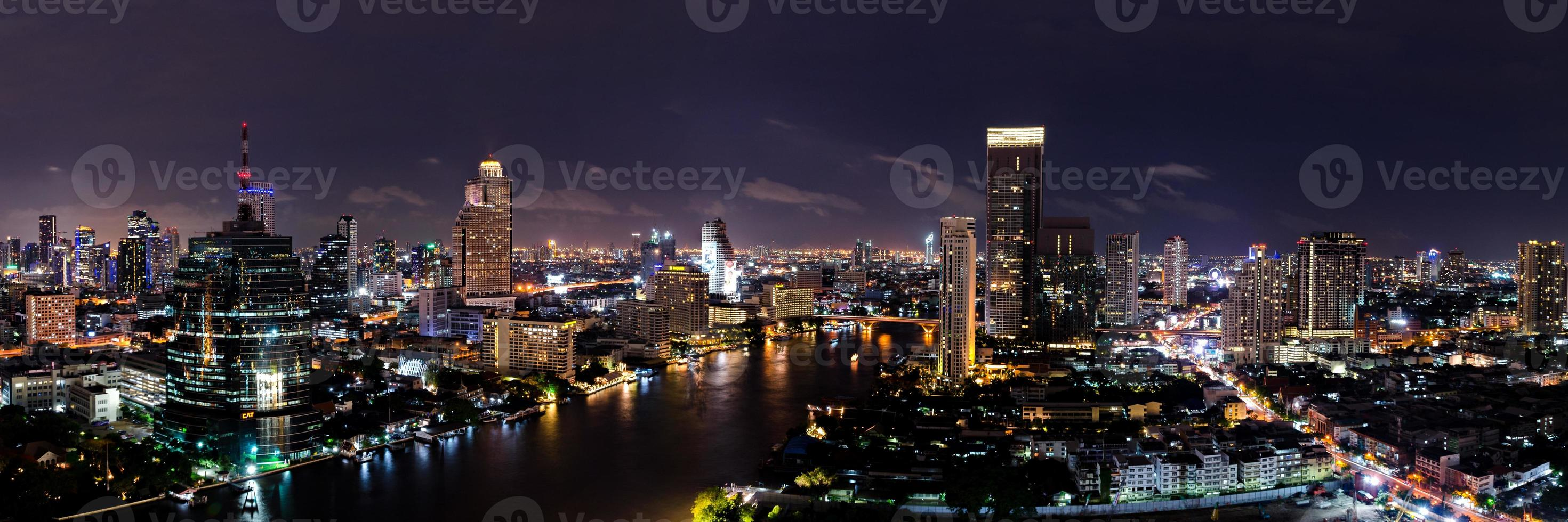 Bangkok Thailand midtown skyline at night with skyscrapers photo