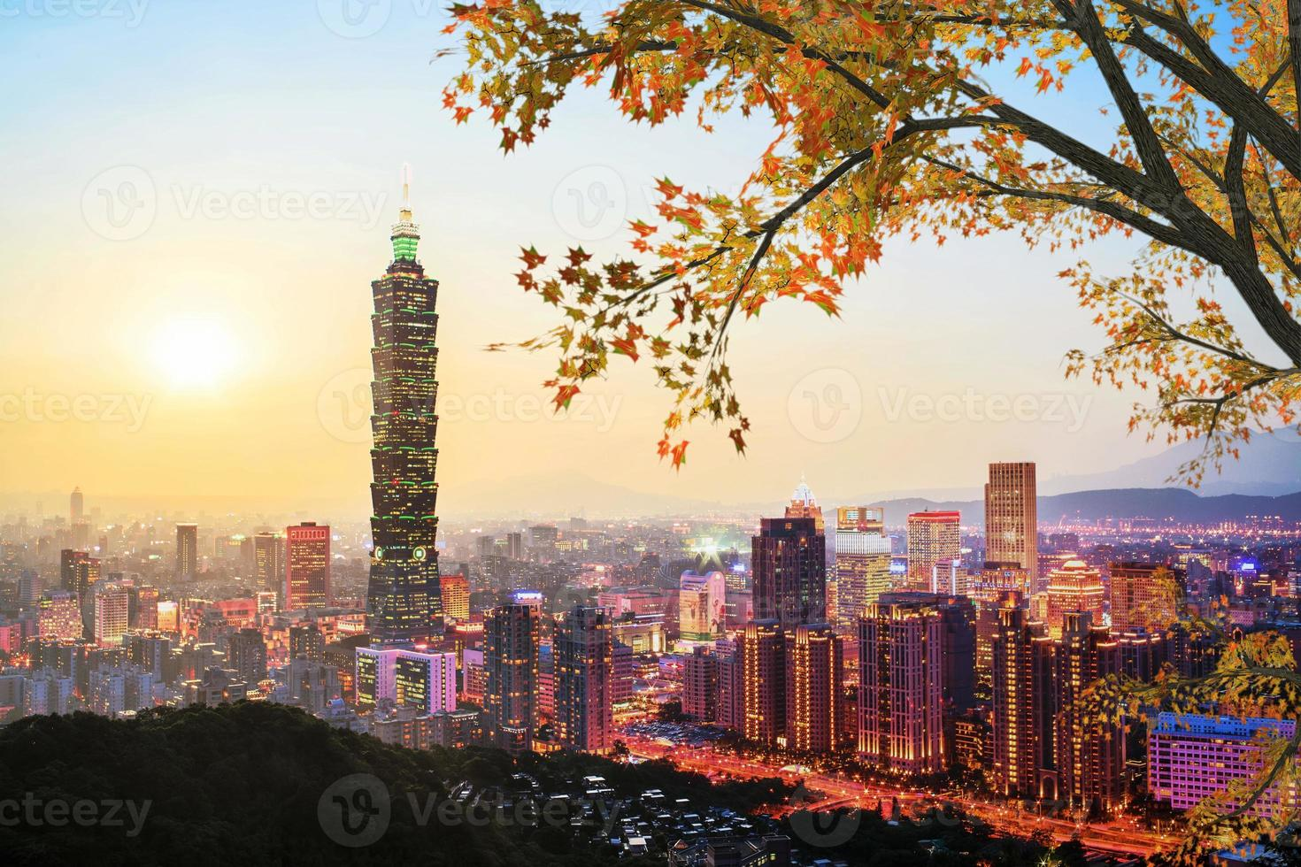 Taipei, Taiwan evening skyline. photo