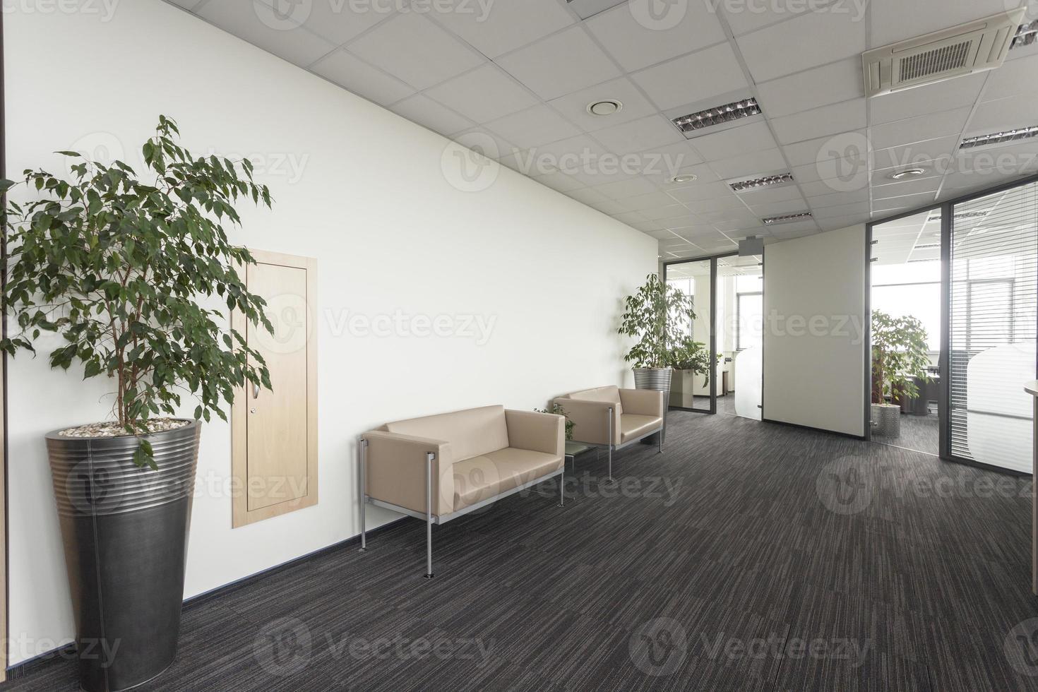 Una gran área de oficina con un diseño interior moderno y sofás foto