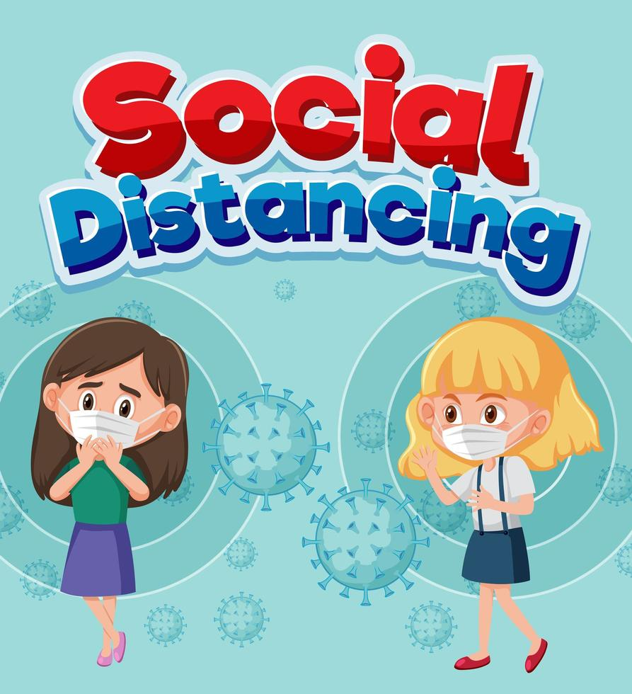 Social Distancing Poster with Two Girls  vector