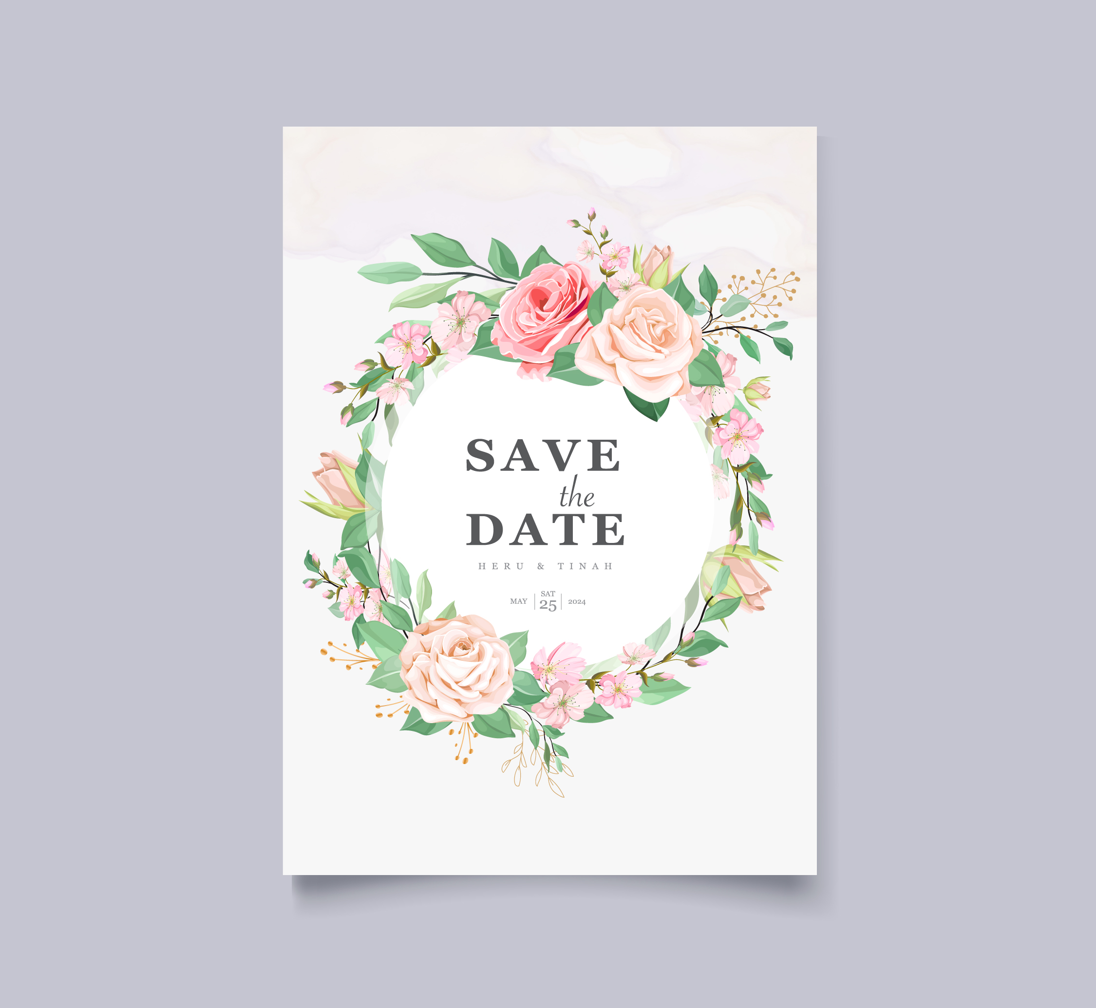 white wedding card with beautiful floral and leaves