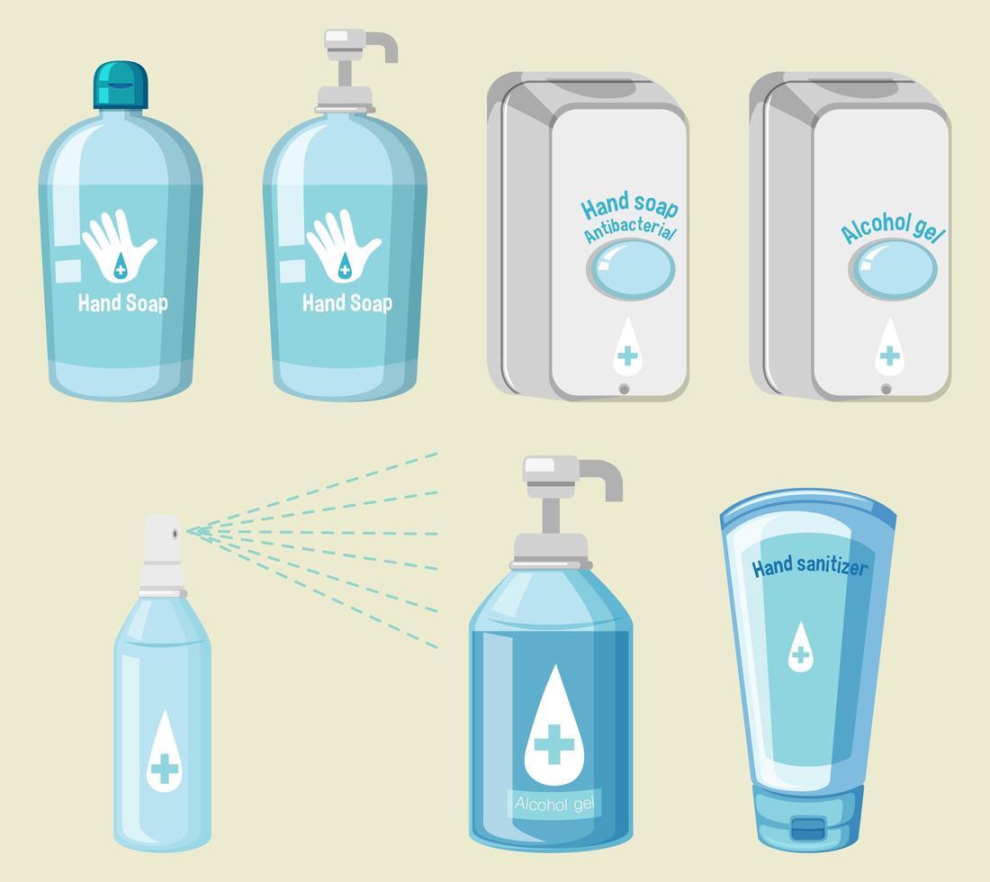 conjunto de produtos de higiene evitar covid-19 vetor