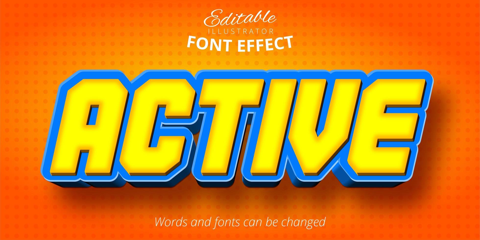 efecto de texto editable activo vector
