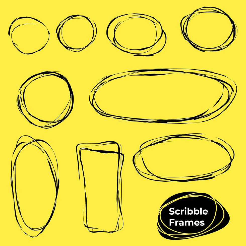 Set of Scribble Circles and Rectangles  vector
