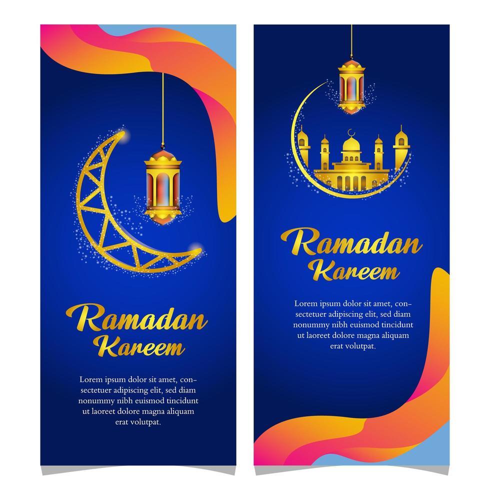 The Mosque Ramadan Logo Template Luxury: Wavy Ramadan Kareem Banners