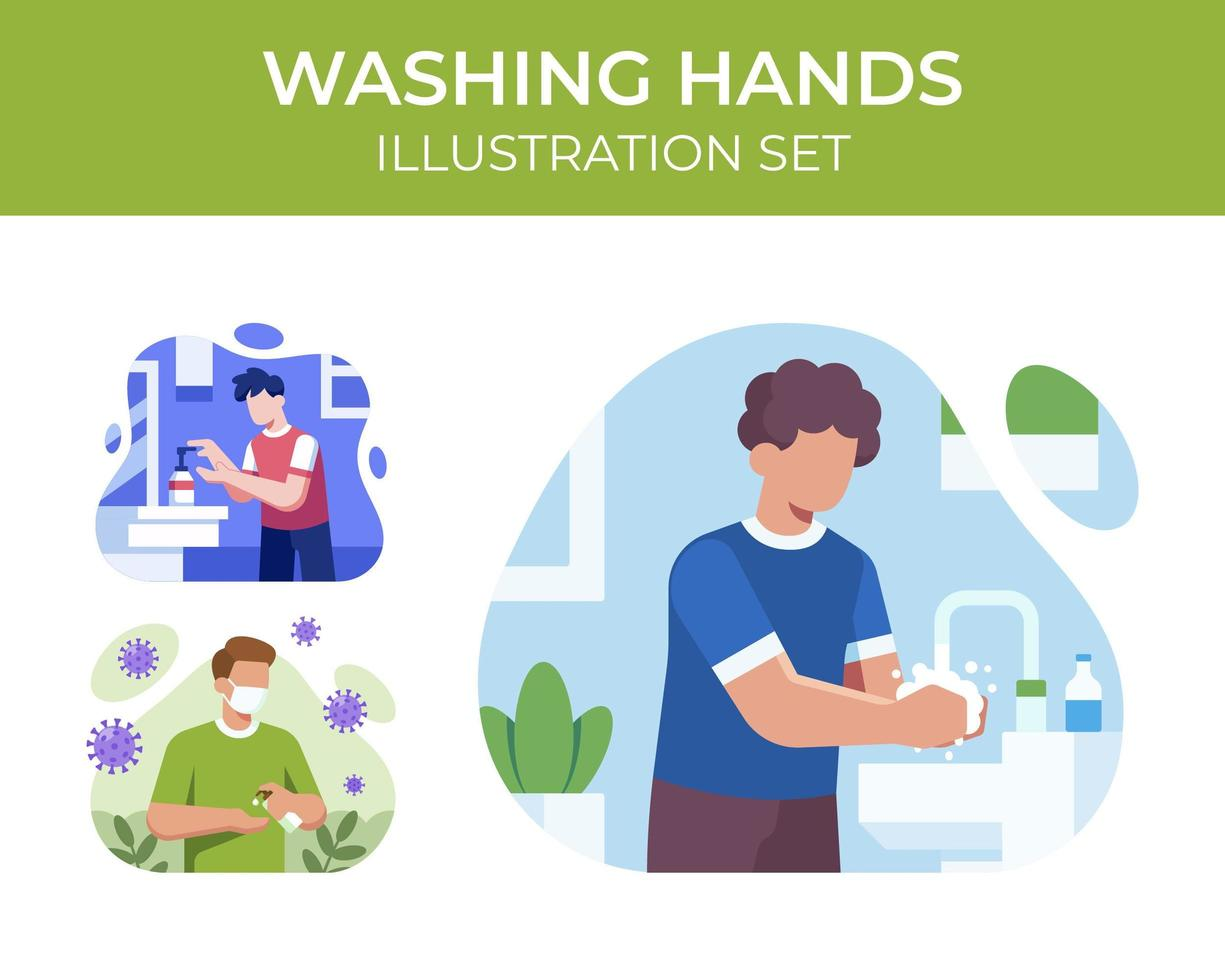 conjunto de escena de lavado de manos vector